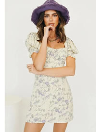 Fashion Beige Floral Puff Sleeve Square Print Dress