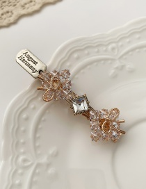 Fashion Rhinestone Bow Square Alloy Hairpin With Bow And Diamond Flowers