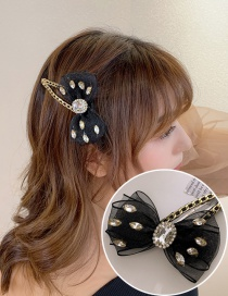Fashion Black And White Diamonds Hollow Alloy Hairpin With Bow-studded Rhinestone Chain