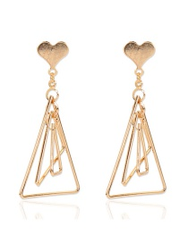 Fashion Golden Alloy Love Geometric Hollow Earrings