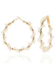 Fashion White Hand-woven Geometric Crystal Round Earrings