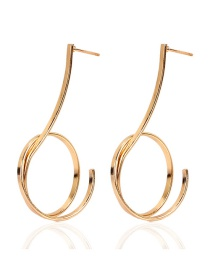 Fashion Golden Geometric Round Alloy Hollow Earrings
