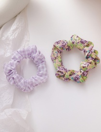 Fashion Purple Floral Print Lattice Elastic Bowel Hair Rope