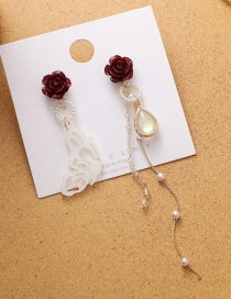 Fashion Color Mixing Butterfly Rose Flower Tassel Asymmetric Earrings