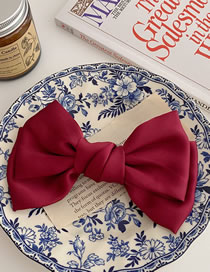Fashion Trumpet-wine Red Satin Bow Hairpin Hairpin