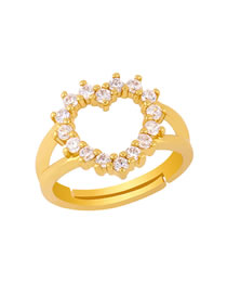 Fashion Heart-shaped Copper Inlay Zircon Butterfly Love Open Ring