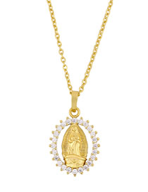Fashion Golden Virgin Mary Oval Brand Gold-plated Necklace