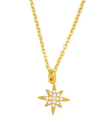 Fashion Hexagram Diamond-plated Butterfly Six-star Horned Cone Gold-plated Necklace