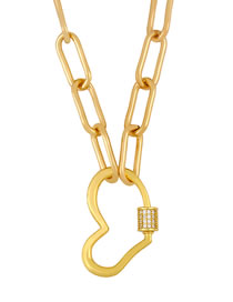Fashion Heart Thick Chain Diamond Necklace Love Heart-shaped Gold-plated Necklace