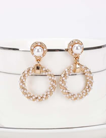 Fashion Golden Hollow Pattern Pearl Round Hollow Earrings