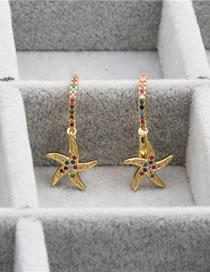 Fashion Starfish Small Micro-set Zircon Starfish Earrings