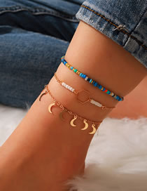 Fashion Color Mixing Moon Geometric Alloy Rice Bead Anklet Set