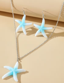 Fashion White Resin Alloy Starfish Earring Necklace