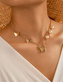 Fashion Gold Color Alloy Drop Oil Butterfly Pearl Single Layer Necklace