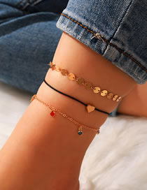 Fashion Gold Color Alloy Diamond Wire Rope Disc Love Anklet Set