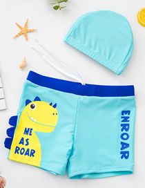 Fashion Sky Blue Dinosaur Print Contrast Color Childrens Swimming Trunks And Swimming Cap
