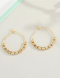 Fashion Bamboo Circle Handmade Beaded Bamboo Joint Beads Square Alloy Earrings