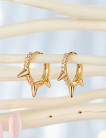 Fashion Three Golden Thorns Micro-set Zircon Rivet Round Earrings