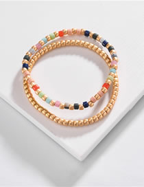 Fashion Yellow Rice Beads Hand-woven Contrast Color Stretch Multi-layer Bracelet