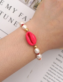 Fashion Red Natural Freshwater Pearl Shell Alloy Bracelet