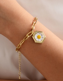 Fashion Yellow Oil Droplet Daisy Geometric Thick Chain Bracelet