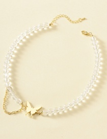 Fashion Golden Crystal Butterfly Combined With Gold Chain Necklace