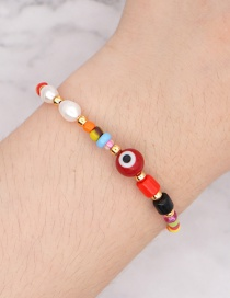 Fashion Red Natural Freshwater Pearl Handmade Rice Bead Woven Eye Bracelet