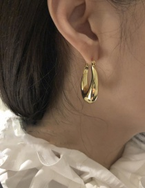 Fashion Golden Large Ring Water Drop Glossy Earrings