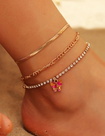Fashion Red Butterfly Alloy Multilayer Anklet With Diamond Chain