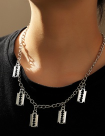 Fashion Platinum Geometric Blade Hollow Alloy Necklace