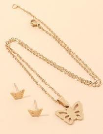 Fashion Golden Glossy Hollow Butterfly Alloy Earring Necklace