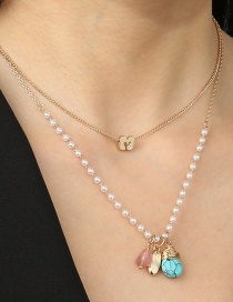 Fashion Turquoise Natural Stone Pearl Alloy Geometric Multilayer Necklace