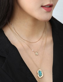 Fashion Turquoise Natural Turquoise Shaped Pearl Geometric Multilayer Necklace