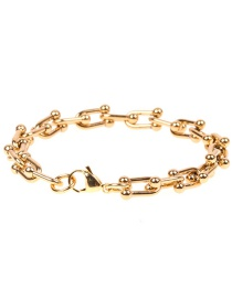 Fashion Golden Geometric Stainless Steel Thick Bracelet