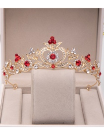 Fashion Red Copper Inlay Zircon Crown Love Hollow Crown