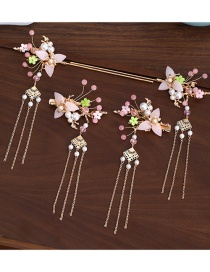 Fashion Pink Resin Flower Pearl Alloy Fringed Hairpin Hairpin