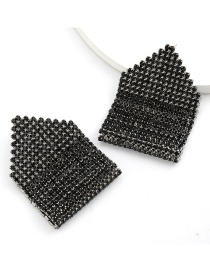 Fashion Black Claw Chain Double Alloy Diamond Geometric Earrings