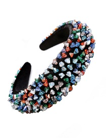 Fashion Color Alloy Resin Crystal Contrast Sponge Wide-brimmed Hair Band