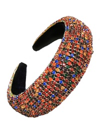 Fashion Color Alloy Sponge Hairband With Wide-banded Diamonds