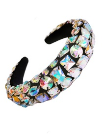 Fashion Ab Color Geometric Beaded Sponge Wide-brimmed Hair Band With Rhinestones