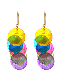 Fashion Color Alloy Shell Overlap Earrings