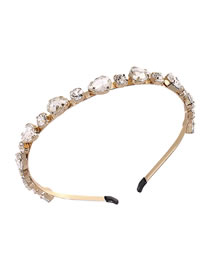 Fashion White Diamond-studded Geometric Alloy Thin-edged Headband