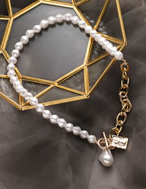 Fashion White Pearl Angel Tag Single Layer Necklace Women