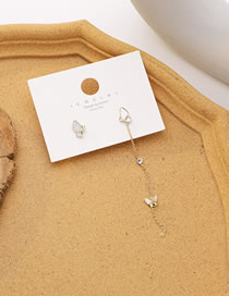 Fashion Golden Shell Butterfly Alloy Diamond Asymmetric Earrings
