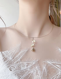 Fashion Golden Freshwater Pearl Rose Flower Alloy Collar