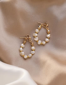 Fashion Golden Natural Freshwater Pearl Alloy Geometric Back Hanging Earrings