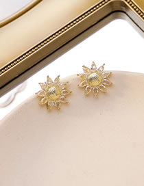 Fashion Golden Sunflower Crystal Alloy Earrings