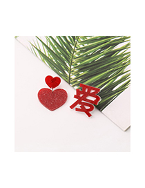 Fashion Red Chinese Style Text Love Peach Heart Earrings