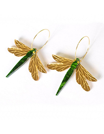 Fashion Golden Dragonfly Insect Earrings