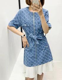 Fashion Blue Denim Check Lace Waist Dress